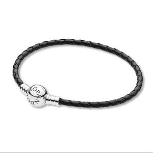 Black Leather Pandora Charm Bracelet